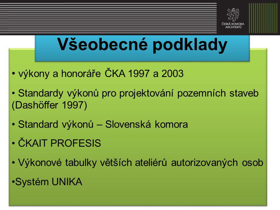 Všeobecné podklady výkony a honoráře ČKA 1997 a 2003