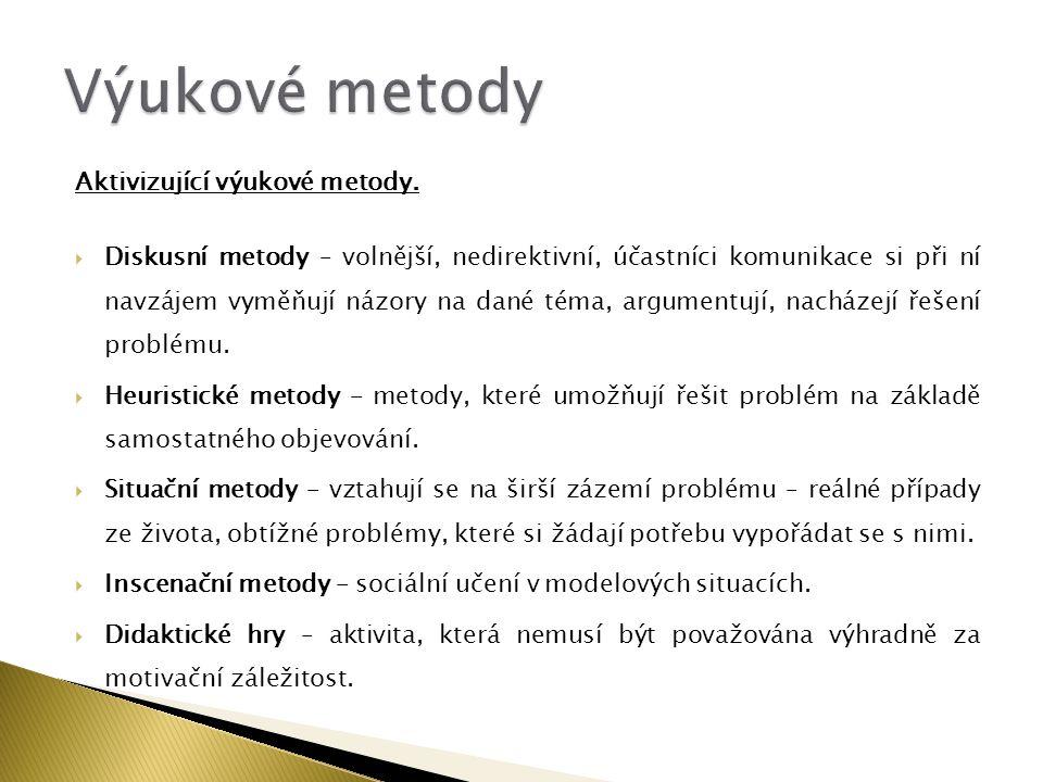 Výukové metody Aktivizující výukové metody.
