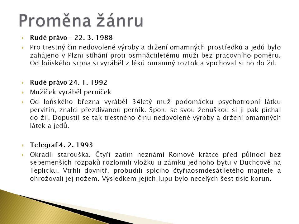 Proměna žánru Rudé právo – 22. 3. 1988