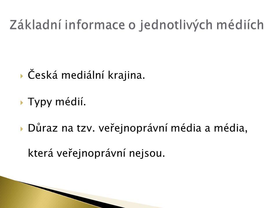 Základní informace o jednotlivých médiích