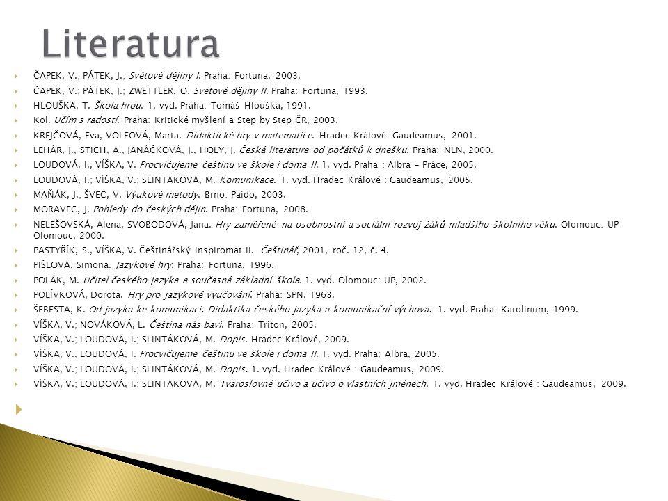Literatura ČAPEK, V.; PÁTEK, J.; Světové dějiny I. Praha: Fortuna, 2003. ČAPEK, V.; PÁTEK, J.; ZWETTLER, O. Světové dějiny II. Praha: Fortuna, 1993.