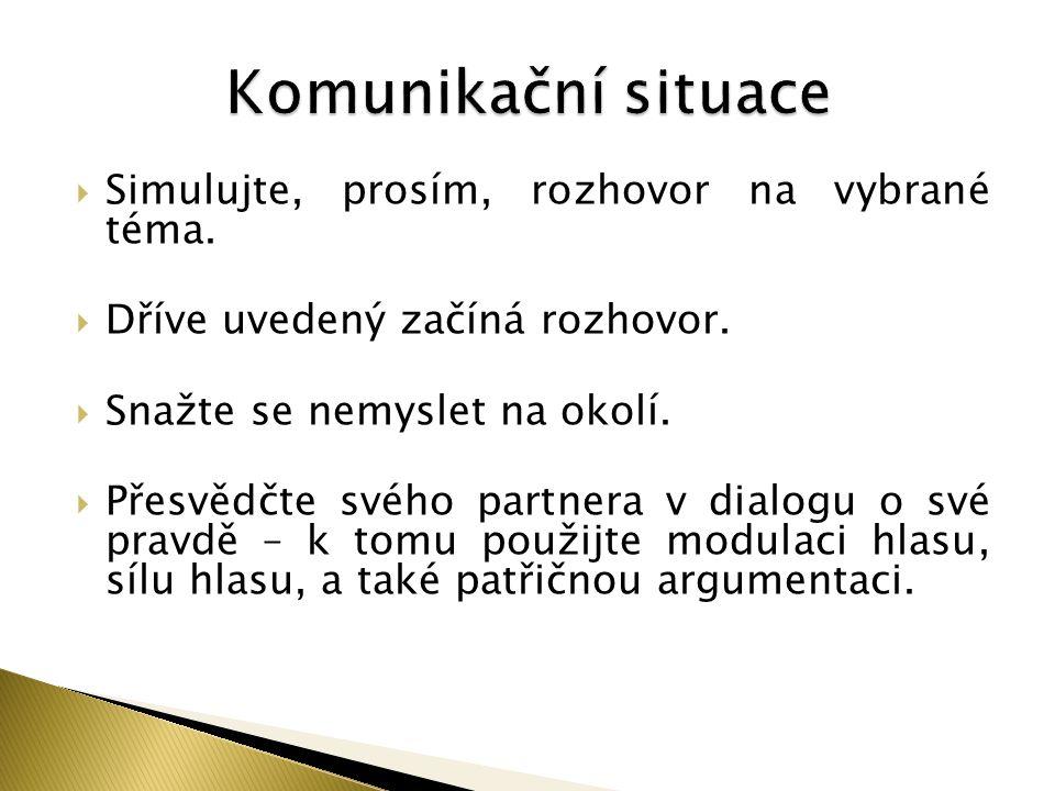 Komunikační situace Simulujte, prosím, rozhovor na vybrané téma.
