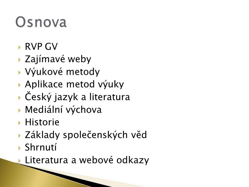 Osnova RVP GV Zajímavé weby Výukové metody Aplikace metod výuky