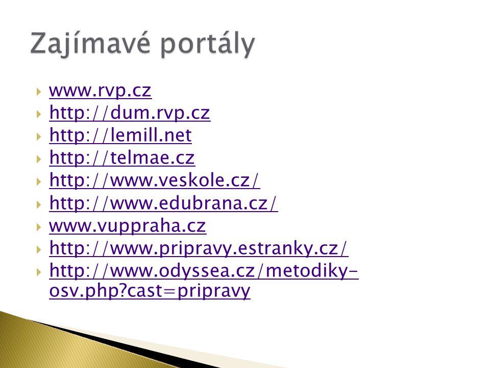 Zajímavé portály www.rvp.cz http://dum.rvp.cz http://lemill.net