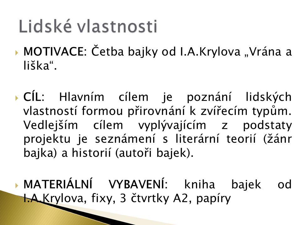 """Lidské vlastnosti MOTIVACE: Četba bajky od I.A.Krylova """"Vrána a liška ."""