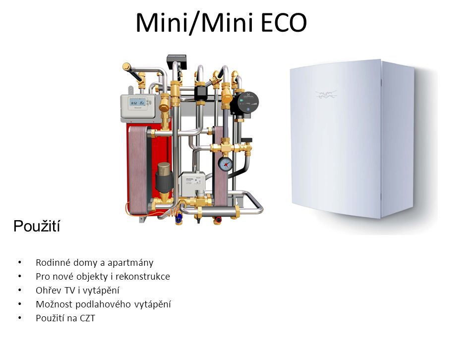 Mini/Mini ECO Použití Rodinné domy a apartmány