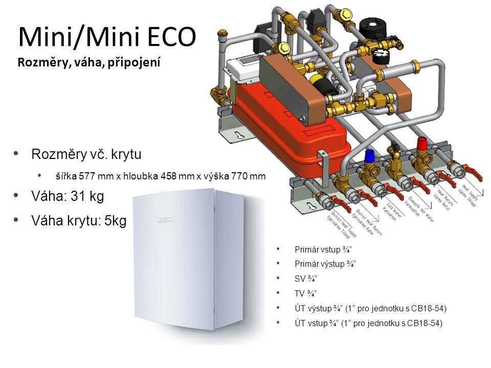 Mini/Mini ECO Rozměry, váha, připojení