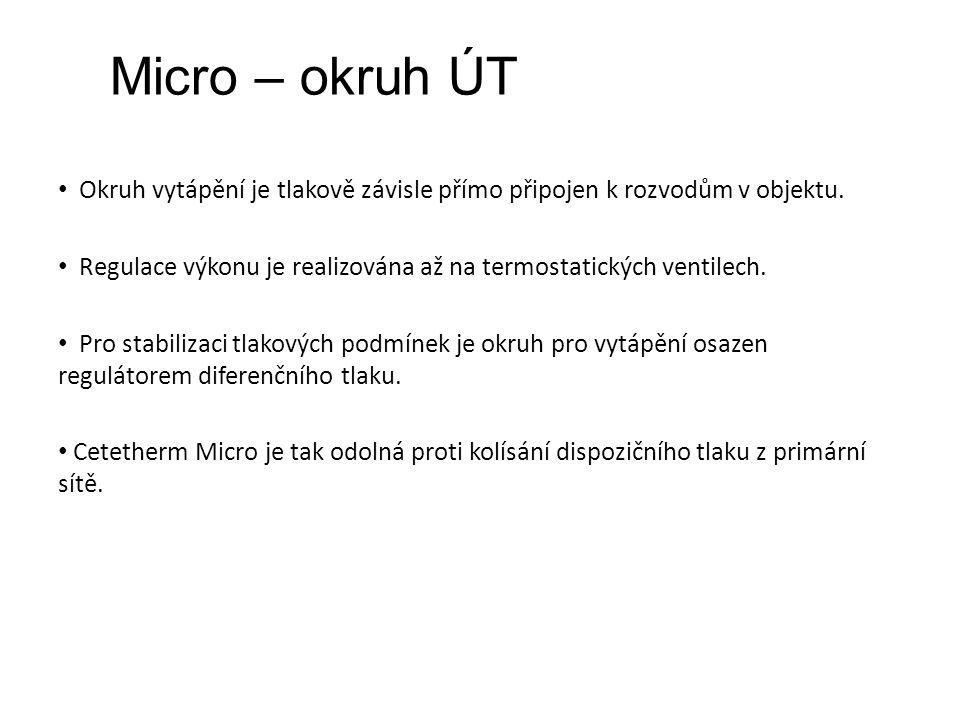 Micro – okruh ÚT Okruh vytápění je tlakově závisle přímo připojen k rozvodům v objektu.