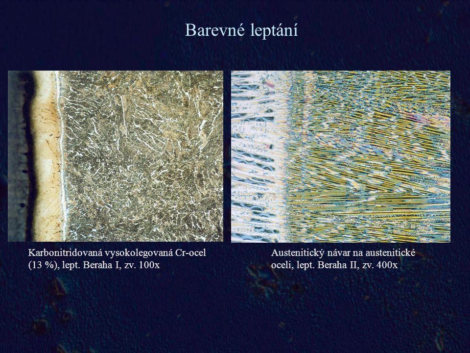 Barevné leptání Karbonitridovaná vysokolegovaná Cr-ocel (13 %), lept. Beraha I, zv. 100x.