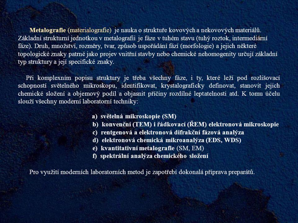b) konvenční (TEM) i řádkovací (ŘEM) elektronová mikroskopie