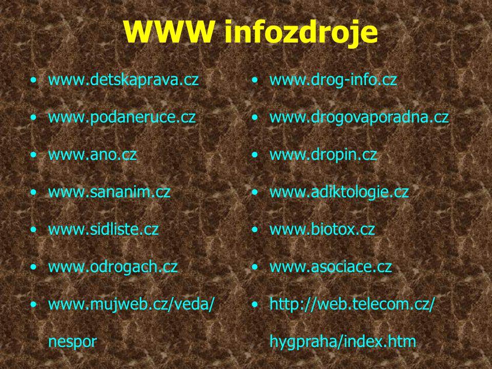 WWW infozdroje www.detskaprava.cz www.podaneruce.cz www.ano.cz