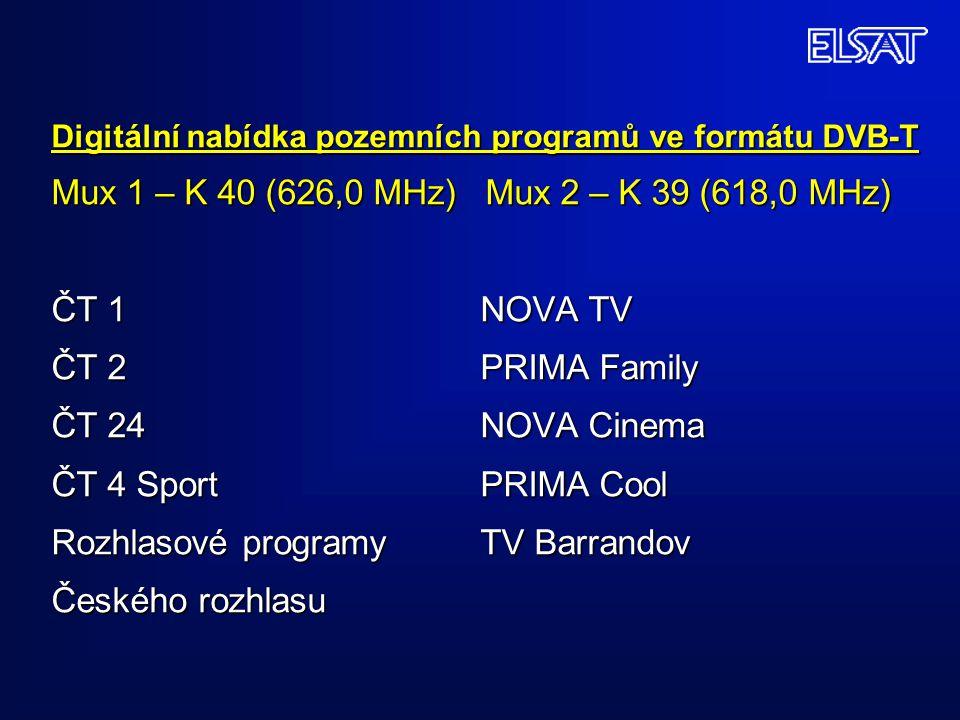 Digitální nabídka pozemních programů ve formátu DVB-T Mux 1 – K 40 (626,0 MHz) Mux 2 – K 39 (618,0 MHz) ČT 1 NOVA TV ČT 2 PRIMA Family ČT 24 NOVA Cinema ČT 4 Sport PRIMA Cool Rozhlasové programy TV Barrandov Českého rozhlasu