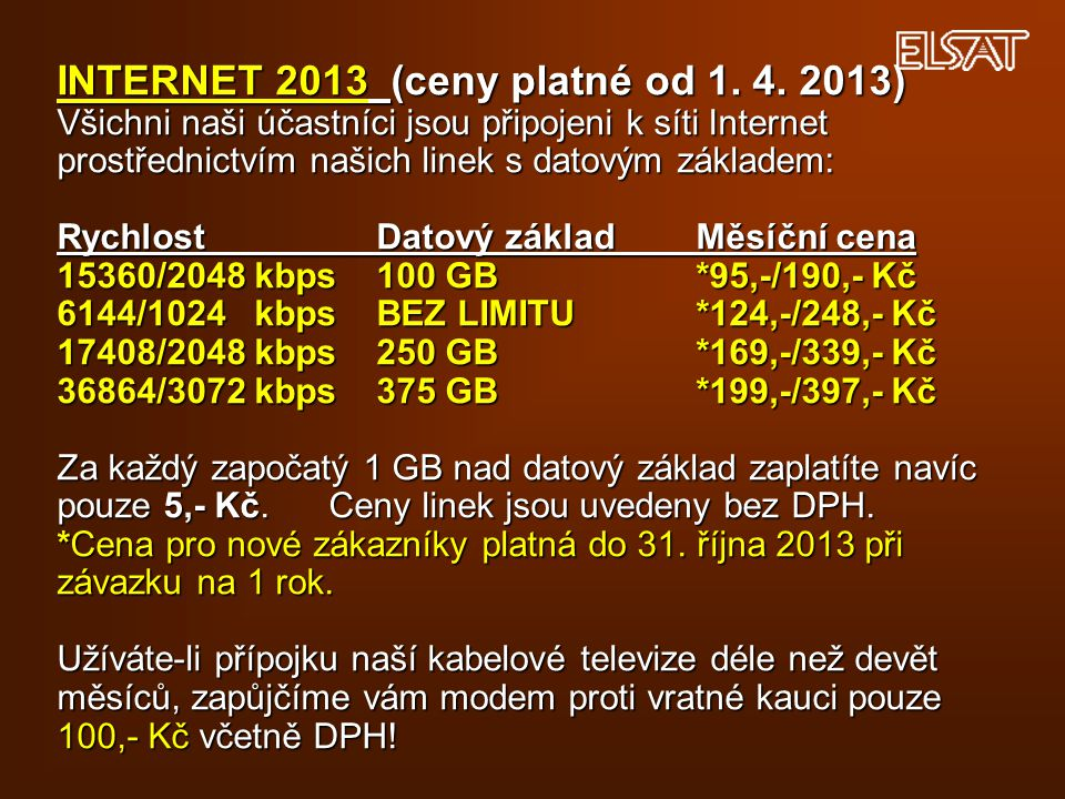 INTERNET 2013 (ceny platné od 1. 4