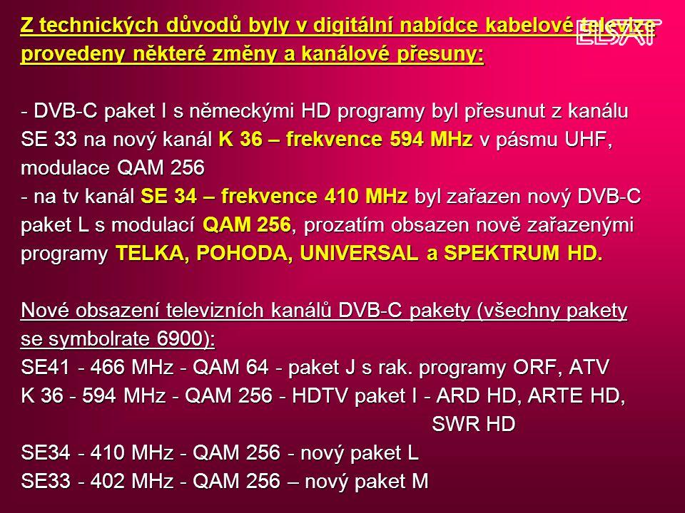 Z technických důvodů byly v digitální nabídce kabelové televize provedeny některé změny a kanálové přesuny: - DVB-C paket I s německými HD programy byl přesunut z kanálu SE 33 na nový kanál K 36 – frekvence 594 MHz v pásmu UHF, modulace QAM 256 - na tv kanál SE 34 – frekvence 410 MHz byl zařazen nový DVB-C paket L s modulací QAM 256, prozatím obsazen nově zařazenými programy TELKA, POHODA, UNIVERSAL a SPEKTRUM HD.