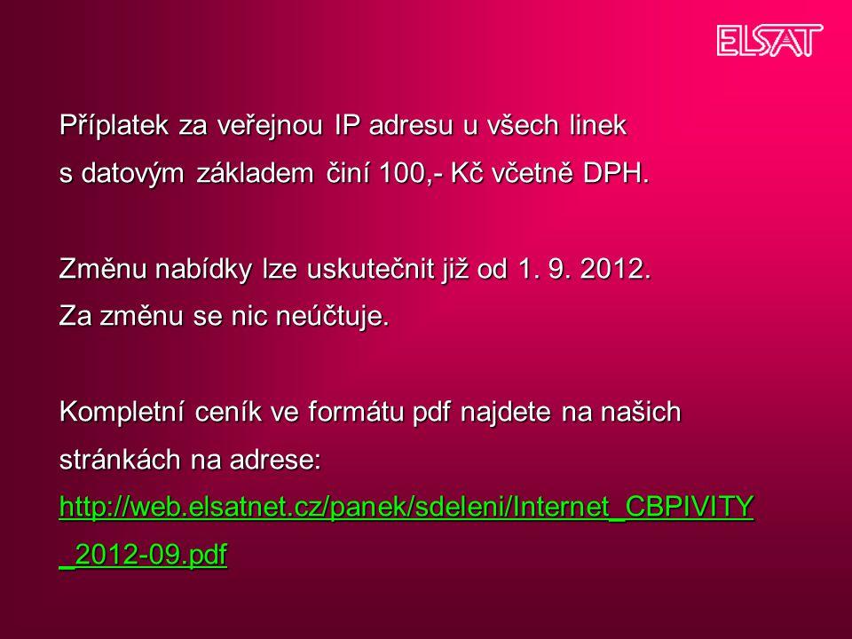 Příplatek za veřejnou IP adresu u všech linek s datovým základem činí 100,- Kč včetně DPH.