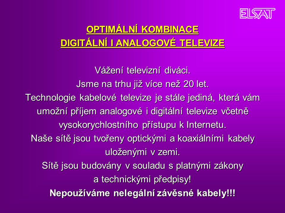 OPTIMÁLNÍ KOMBINACE DIGITÁLNÍ I ANALOGOVÉ TELEVIZE Vážení televizní diváci.