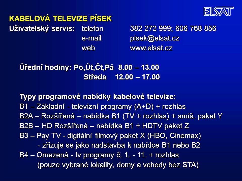 KABELOVÁ TELEVIZE PÍSEK