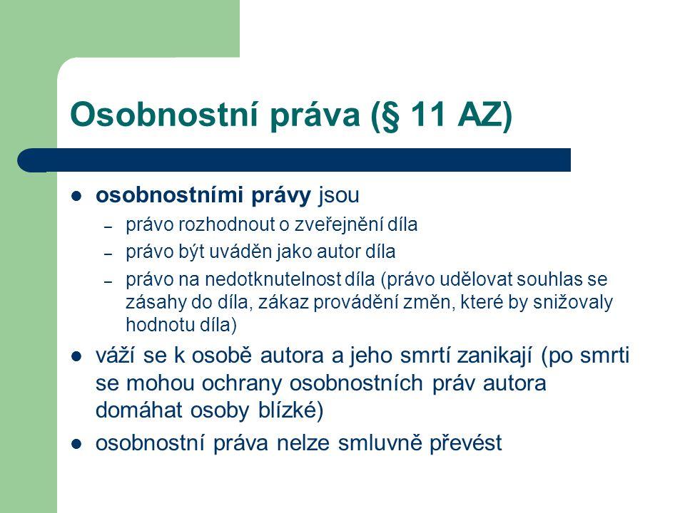 Osobnostní práva (§ 11 AZ)