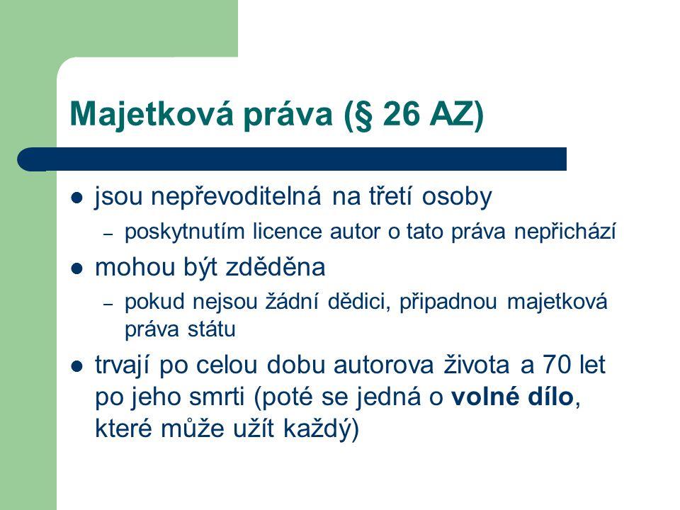 Majetková práva (§ 26 AZ) jsou nepřevoditelná na třetí osoby