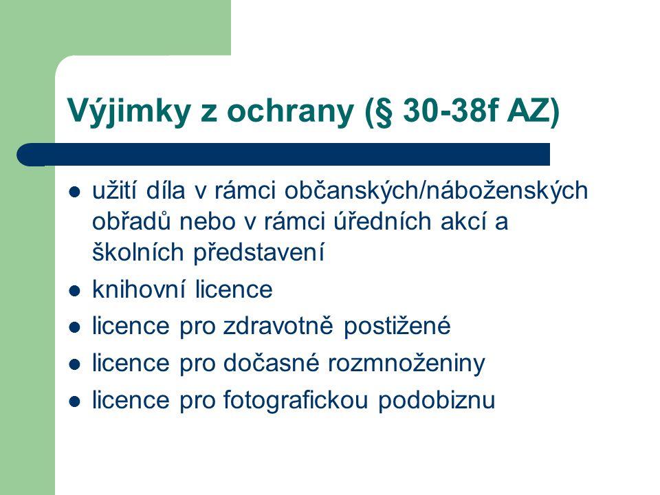 Výjimky z ochrany (§ 30-38f AZ)