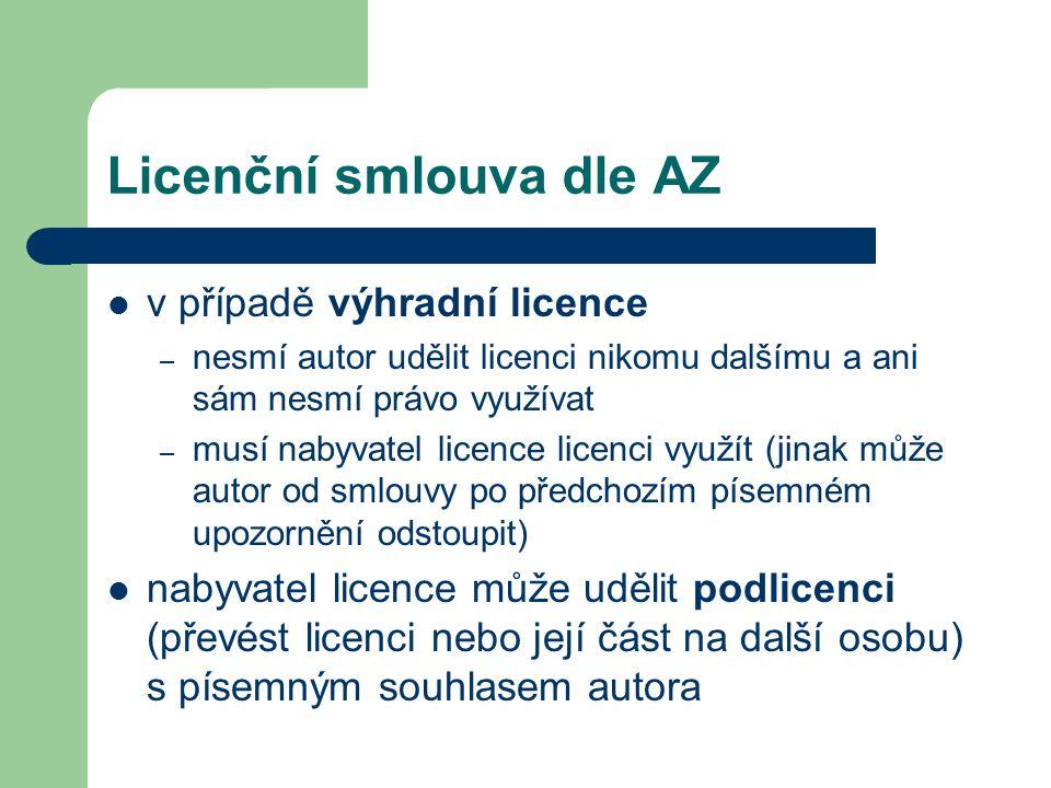 Licenční smlouva dle AZ