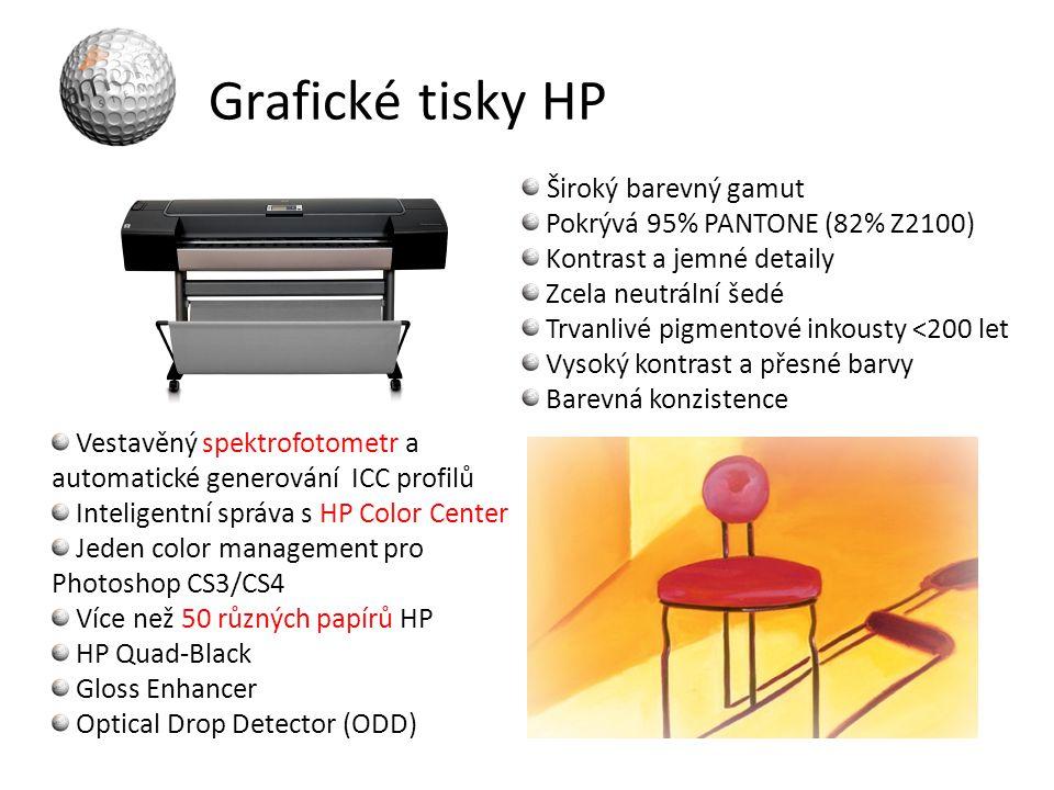 Grafické tisky HP Široký barevný gamut Pokrývá 95% PANTONE (82% Z2100)