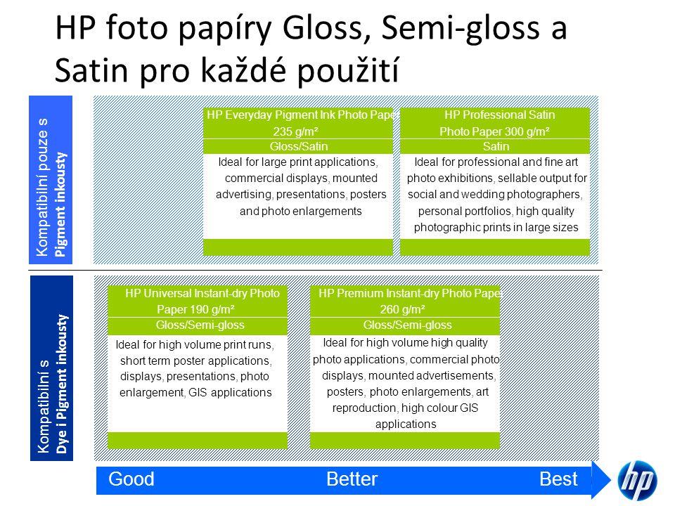 HP foto papíry Gloss, Semi-gloss a Satin pro každé použití