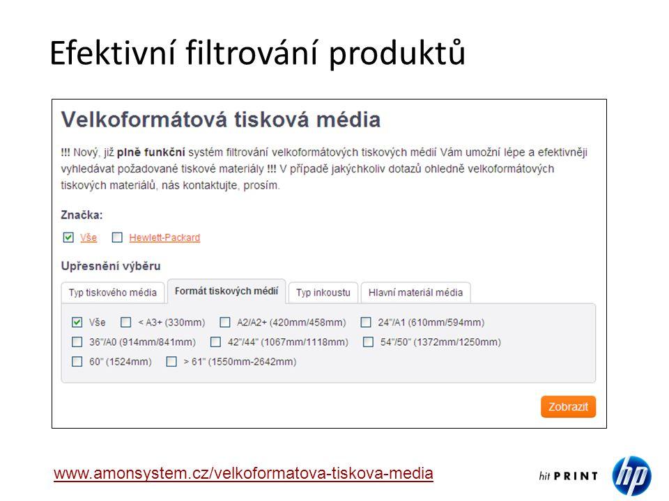 Efektivní filtrování produktů