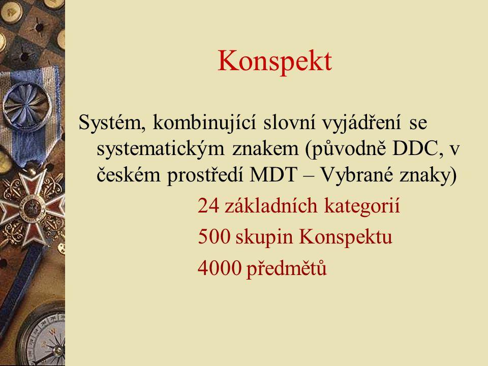 Konspekt Systém, kombinující slovní vyjádření se systematickým znakem (původně DDC, v českém prostředí MDT – Vybrané znaky)