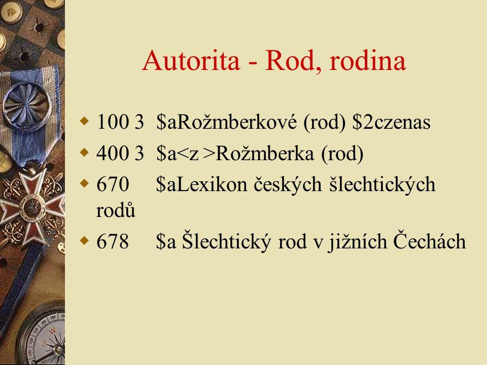 Autorita - Rod, rodina 100 3 $aRožmberkové (rod) $2czenas