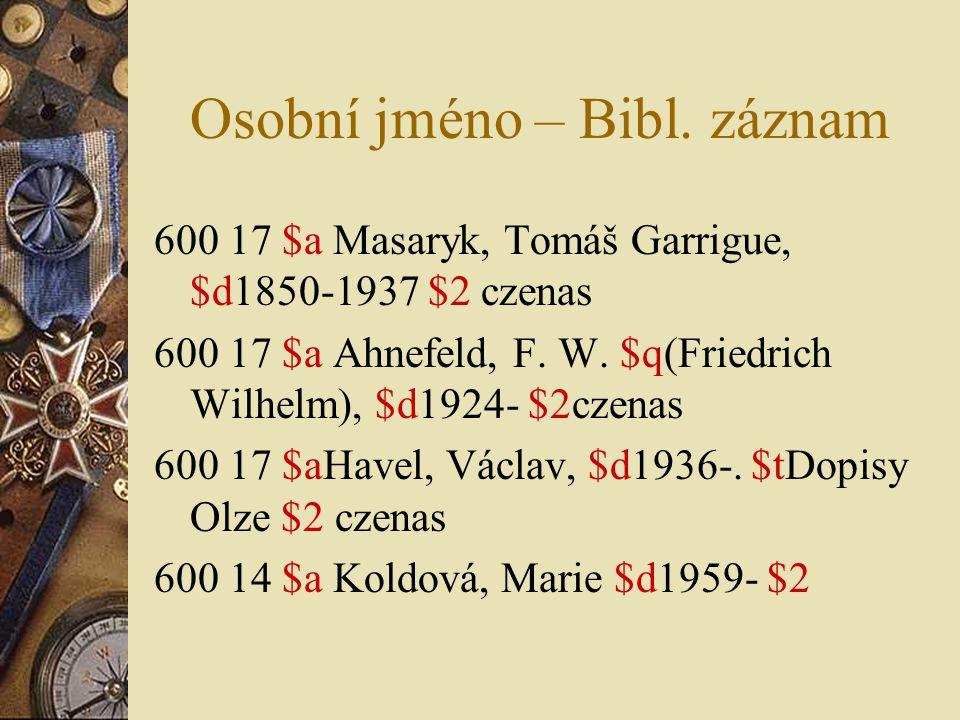 Osobní jméno – Bibl. záznam