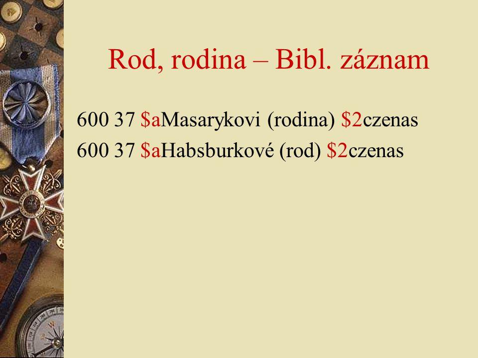 Rod, rodina – Bibl. záznam