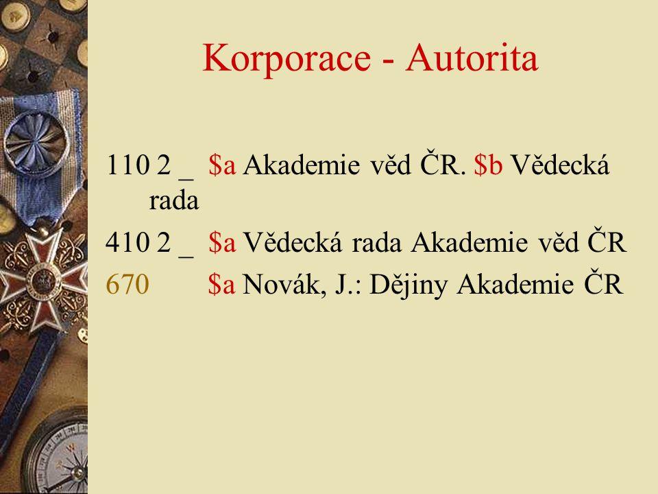 Korporace - Autorita 110 2 _ $a Akademie věd ČR. $b Vědecká rada
