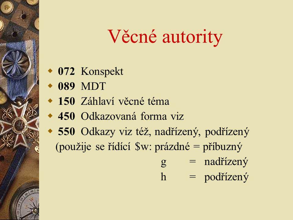Věcné autority 072 Konspekt 089 MDT 150 Záhlaví věcné téma