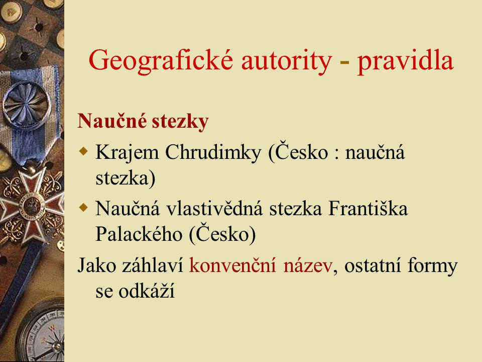 Geografické autority - pravidla