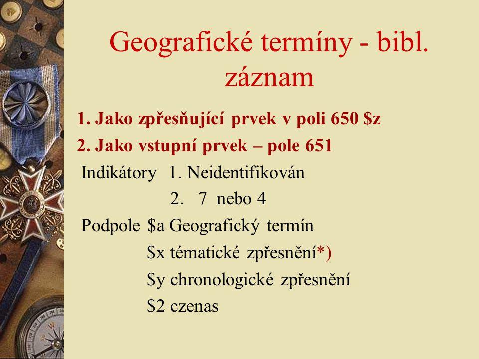 Geografické termíny - bibl. záznam
