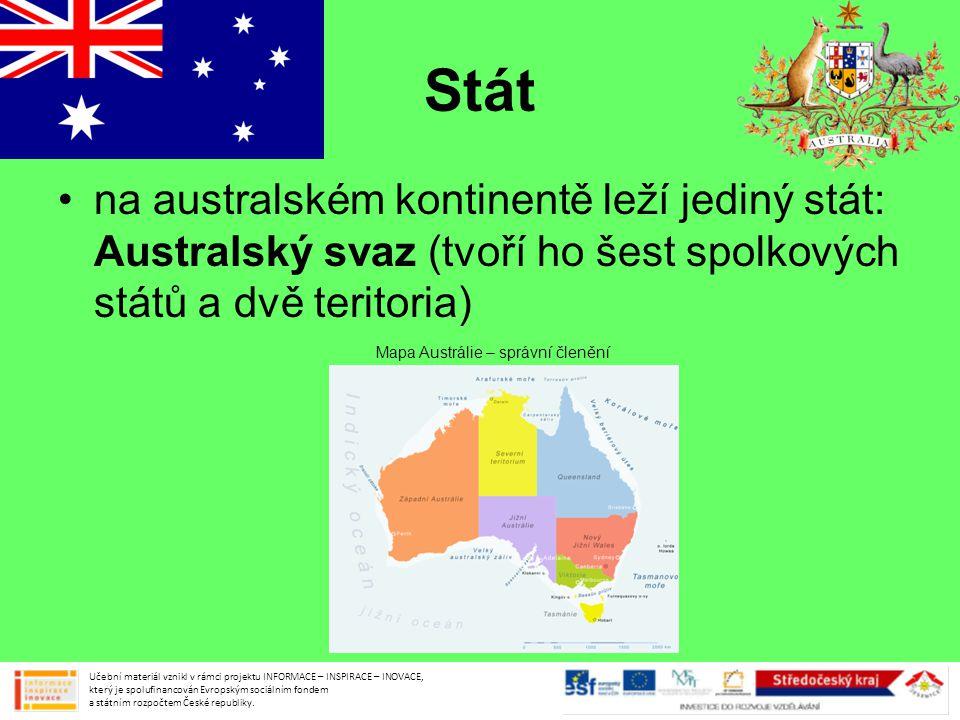 Stát na australském kontinentě leží jediný stát: Australský svaz (tvoří ho šest spolkových států a dvě teritoria)