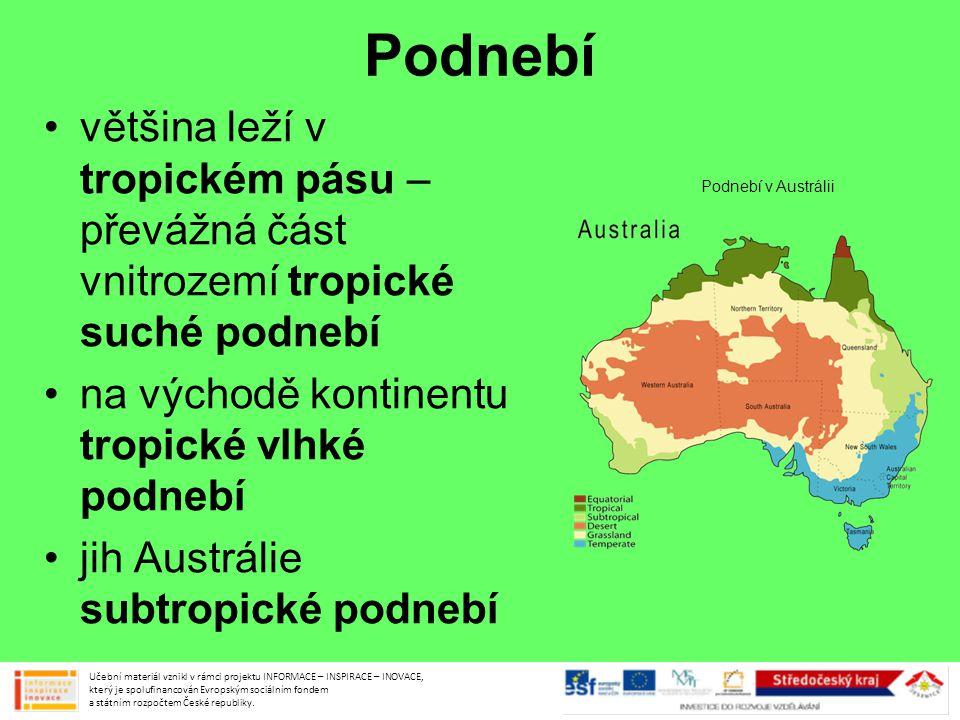 Podnebí většina leží v tropickém pásu – převážná část vnitrozemí tropické suché podnebí. na východě kontinentu tropické vlhké podnebí.