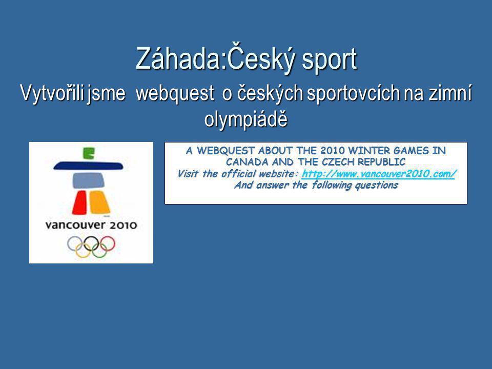 Vytvořili jsme webquest o českých sportovcích na zimní olympiádě