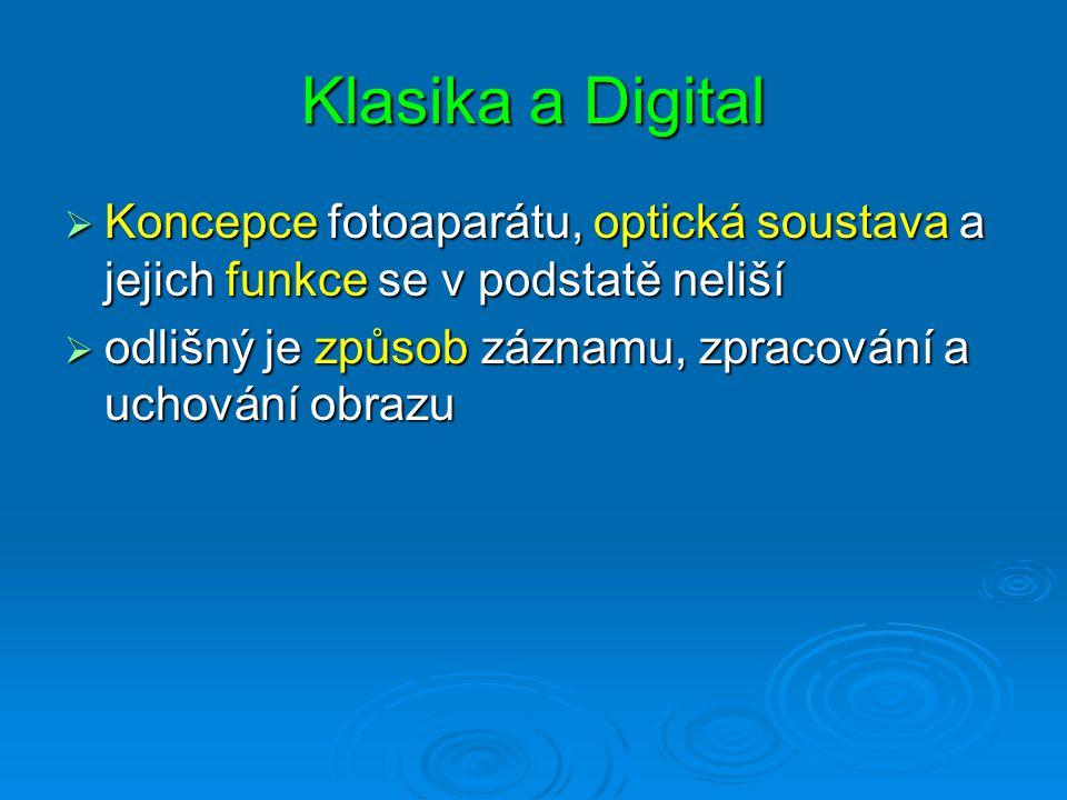 Klasika a Digital Koncepce fotoaparátu, optická soustava a jejich funkce se v podstatě neliší.