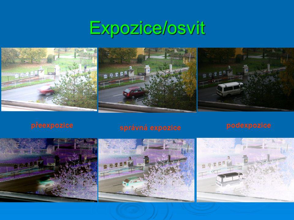 Expozice/osvit přeexpozice podexpozice správná expozice