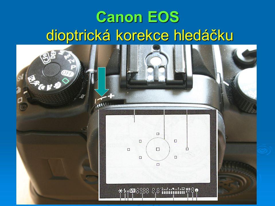 Canon EOS dioptrická korekce hledáčku