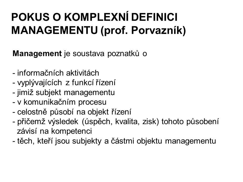 POKUS O KOMPLEXNÍ DEFINICI MANAGEMENTU (prof. Porvazník)