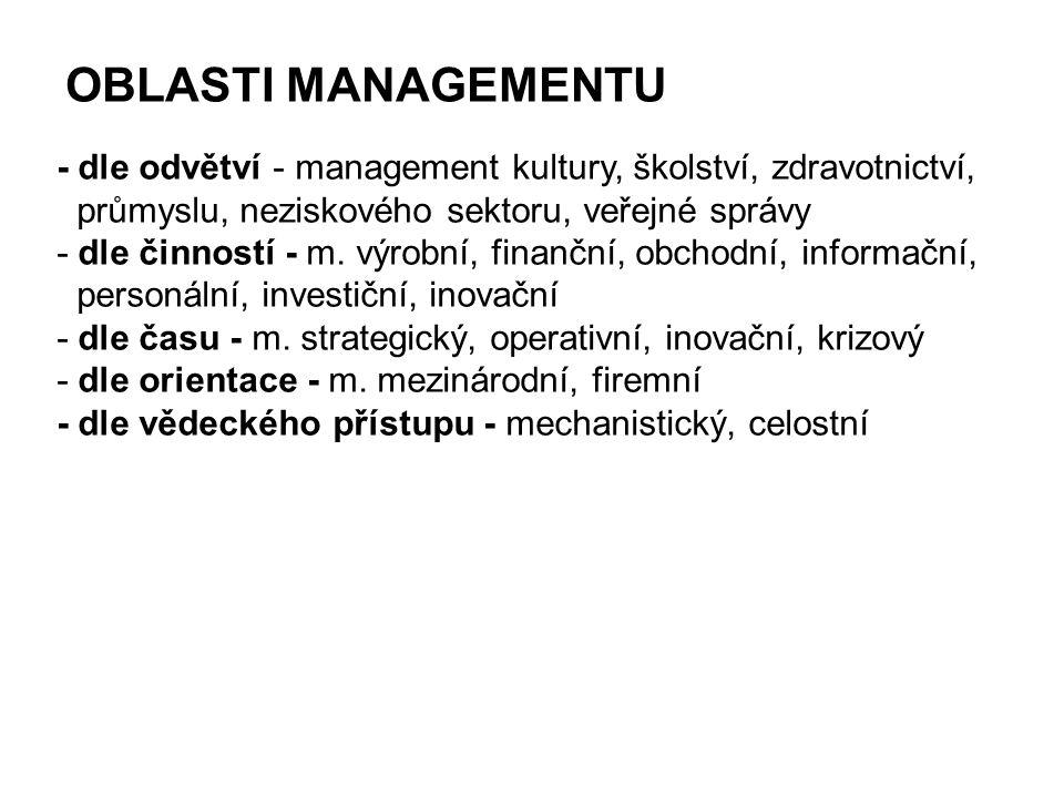 OBLASTI MANAGEMENTU - dle odvětví - management kultury, školství, zdravotnictví, průmyslu, neziskového sektoru, veřejné správy.