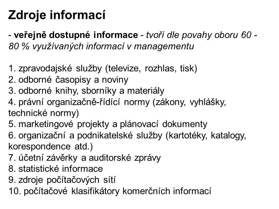 Zdroje informací - veřejně dostupné informace - tvoří dle povahy oboru 60 - 80 % využívaných informací v managementu.