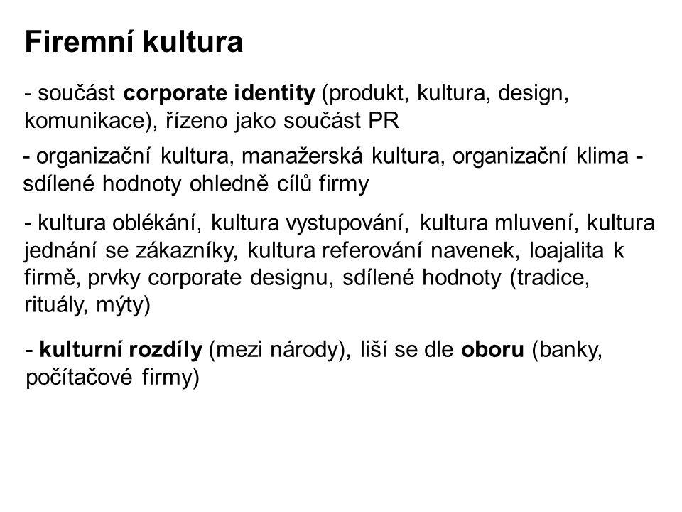 Firemní kultura - součást corporate identity (produkt, kultura, design, komunikace), řízeno jako součást PR.
