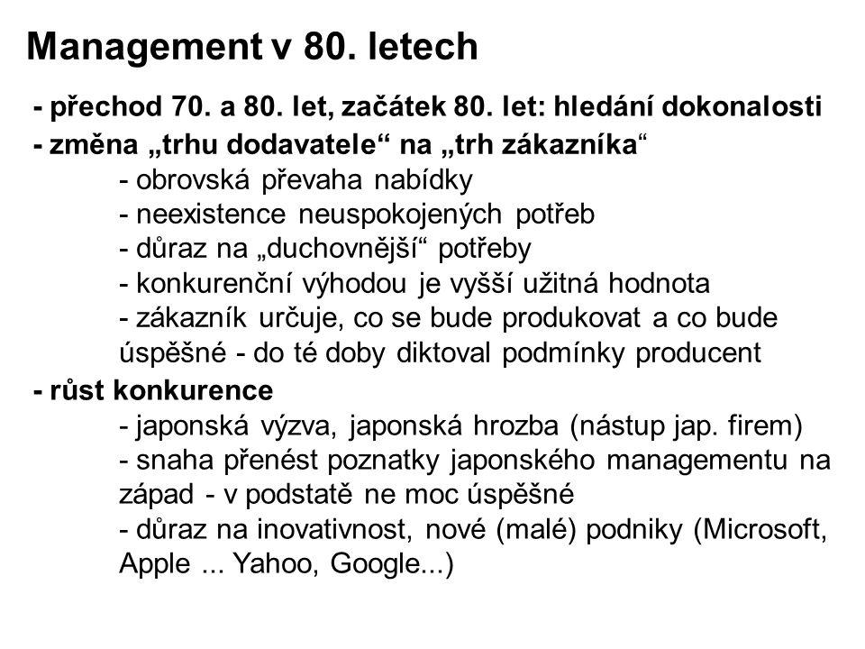 """Management v 80. letech - přechod 70. a 80. let, začátek 80. let: hledání dokonalosti. - změna """"trhu dodavatele na """"trh zákazníka"""