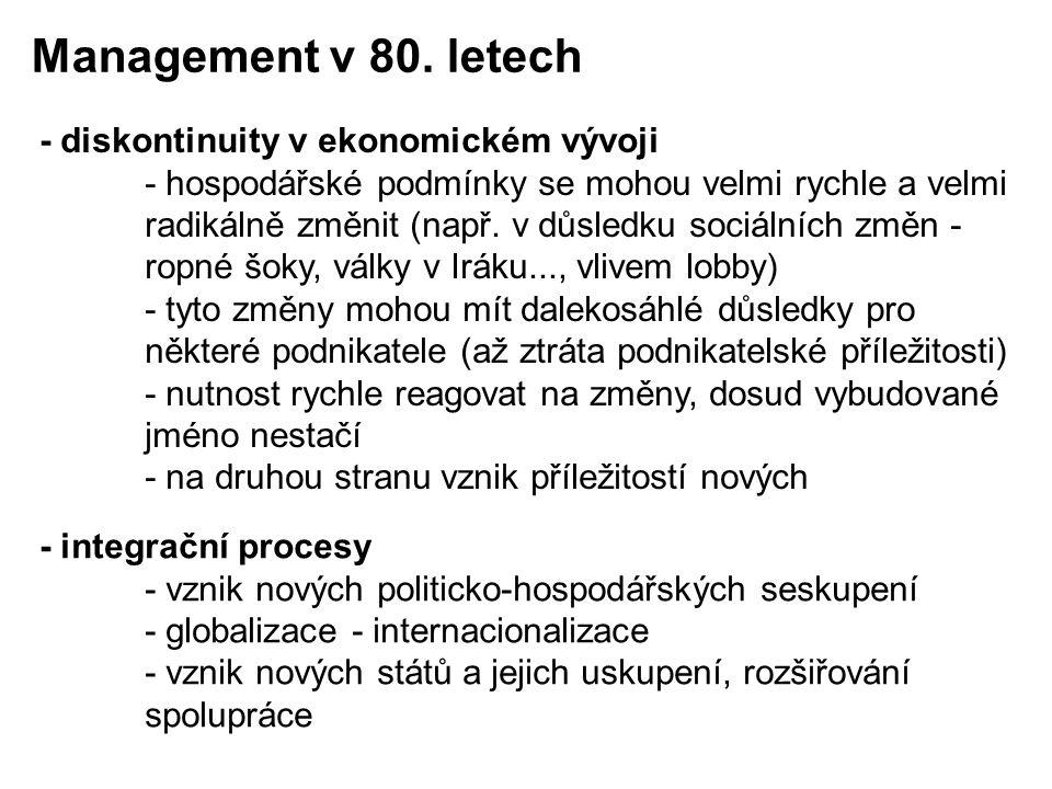 Management v 80. letech - diskontinuity v ekonomickém vývoji
