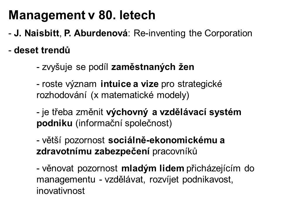 Management v 80. letech - J. Naisbitt, P. Aburdenová: Re-inventing the Corporation. - deset trendů.