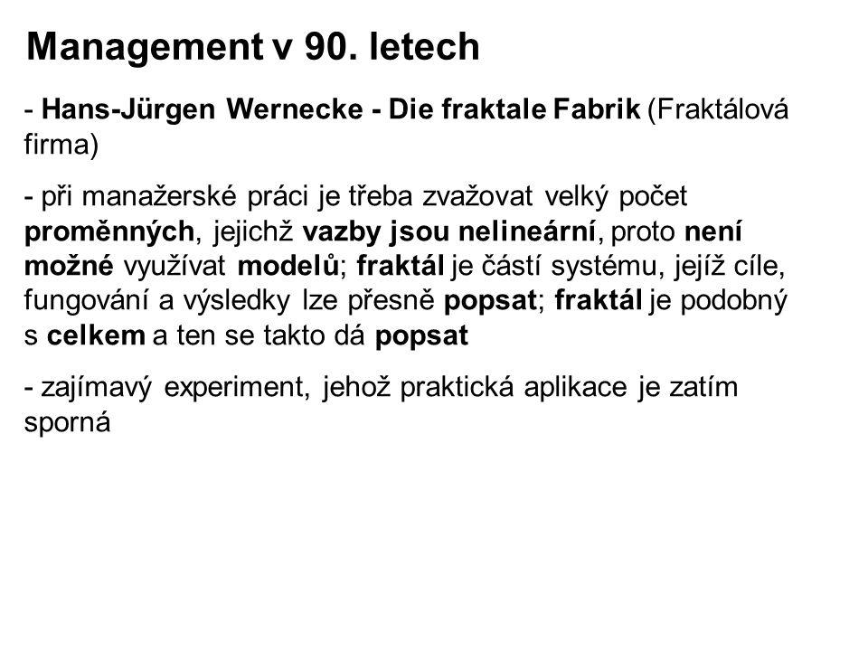 Management v 90. letech - Hans-Jürgen Wernecke - Die fraktale Fabrik (Fraktálová firma)